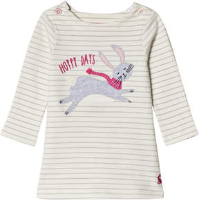 Joules Cream Bunny Applique Stripe Jersey Dress