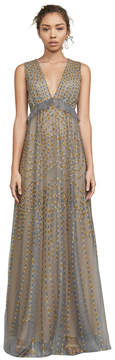 BCBGMAXAZRIA Solace Embroidered Tulle Gown
