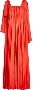 Elie Saab Pleated Crepe Maxi Dress