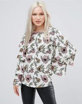 AX Paris Frill Sleeve Floral Top