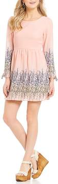 Copper Key Faded Floral Printed Long Sleeve Dress