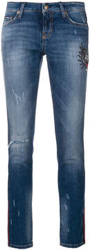 Cambio embroidered and distressed cropped skinny jeans
