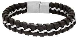 Lord & Taylor Stainless Steel Intertwine Link Leather Bracelet