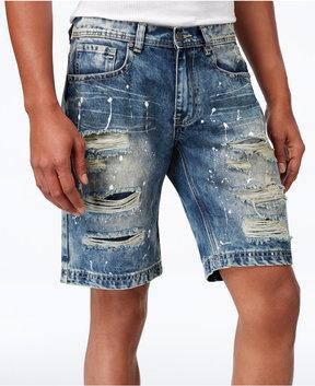 Reason Men's 11 Ripped Denim Shorts