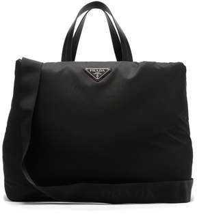 Prada Logo Plaque Nylon Tote - Womens - Black