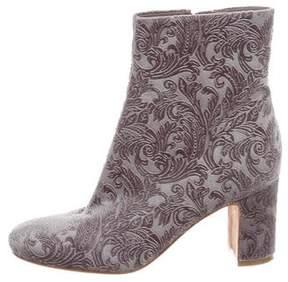 Marc Fisher Velvet Patterned Ankle Boots