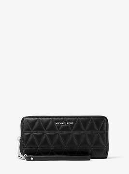 Michael Kors Jet Set Travel Quilted-Leather Continental Wristlet - BLACK - STYLE