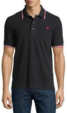 Bally Striped Cotton Pique Polo Shirt, Black