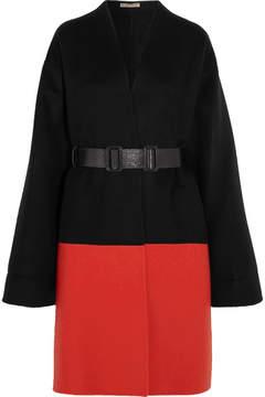 Bottega Veneta Belted Two-tone Cashmere Coat - Black