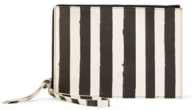 MM6 Maison Margiela Striped Coated Faux Leather Clutch