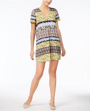 ECI Mixed-Print Pleated T-Shirt Dress