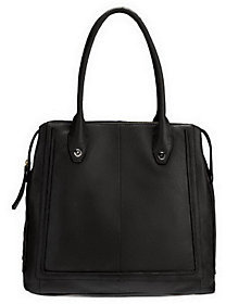 B. Makowsky As Is Glove Leather Zip Top Magazine Tote