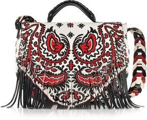 RED Valentino Cherry, Ivory and Black Floral Baroque Printed Leather Single Handle Bag w/Fringes