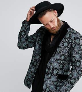 Reclaimed Vintage Inspired Tapestry Blazer With Velvet Lapel