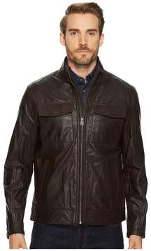 Cole Haan 26 1/2 Zip Front Open Bottom Trucker Jacket with Flap Patch Pockets At Chest and Side Entry Men's Coat