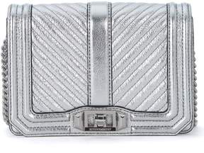 Rebecca Minkoff Small Love Silver Padded Laminated Leather Shoulder Bag - ARGENTO - STYLE