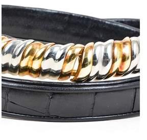 Judith Leiber Pre-owned Vintage Black Embossed Leather Metallic Buckle Skinny Belt.