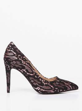 Dorothy Perkins Wide Fit Black Lace 'Emily' Pointed Court Shoes
