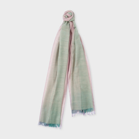 Paul Smith Women's Duck Egg Blue And Mauve Graduated Wool Scarf