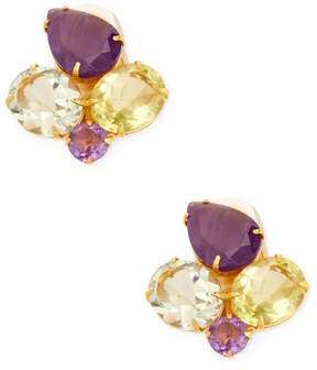 Bounkit Women's Amethyst & Quartz Cluster Stud Earrings
