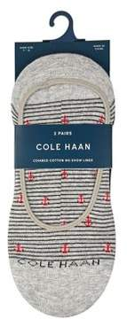 Cole Haan Two-Pack Anchor Stripe Crew No-Show Liners