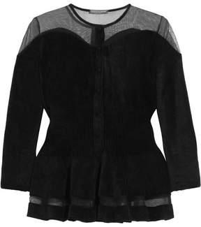 Alexander McQueen Mesh-trimmed Chenille Cardigan - Black