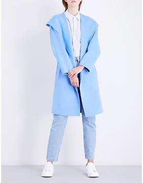 Claudie Pierlot Ladies Light Blue Traditional Oversized Single-Breasted Wool Coat