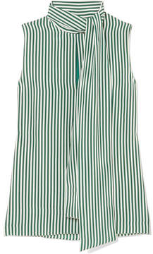Joseph Noon Pussy-bow Striped Silk Blouse - Green