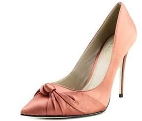 Nicole Miller Jeffery Women Pointed Toe Canvas Orange Heels.