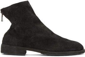 Guidi Black Suede Oxford Back Zip Boots