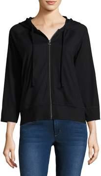 James Perse Women's Knit Zip-Front Hoodie
