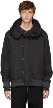 Robert Geller Black Dyed Hooded Bomber Jacket