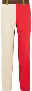 Calvin Klein Color-block Cotton-drill Pants - Red
