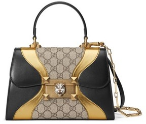 Gucci Small Iside Leather & Canvas Top Handle Satchel - Black - BLACK - STYLE