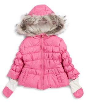 Jessica Simpson Little Girl's Faux Fur-Trimmed Puffer Parka with Mittens