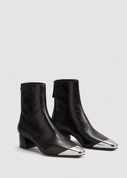 MANGO Metallic pointed toe leather ankle boots