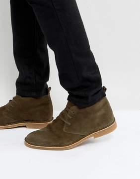 Selected Royce Suede Desert Boots In Khaki