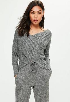 Missguided WRAP RIB Knit CROSS OVER