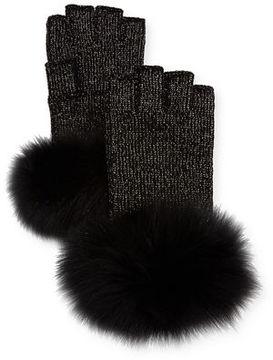 Sofia Cashmere Lurex® Knit Fingerless Gloves w/ Fur Cuffs