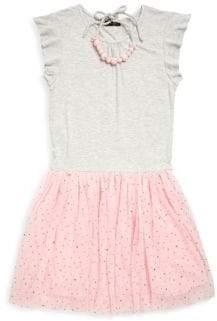 Imoga Little Girl's & Girl's Flutter Sleeve Dress & Bubble Necklace