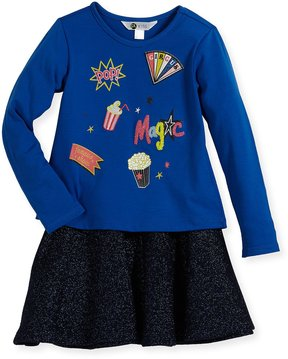 Petit Lem Magic Circus Top and Skirt Set, Blue, Size 2-6X
