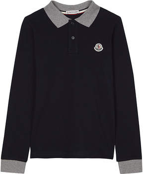 Moncler Long-sleeved cotton polo shirt 4-14 years