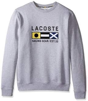 Lacoste Men's Long Sleeve Nautical Fleece Sweatshirt, Silver/Grey Chine, 7