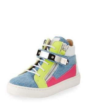 Giuseppe Zanotti Ares Denim Patchwork Sneaker, Toddler
