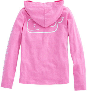 Vineyard Vines Girls Long-Sleeve Foil Whale Hoodie Pocket Tee