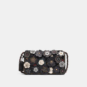 COACH DINKY IN GLOVETANNED LEATHER WITH TOOLED TEA ROSE - BLACK COPPER/BLACK