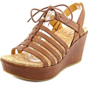 Kork-Ease Ease Adel Women Open Toe Leather Brown Wedge Sandal.