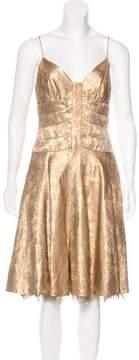Carmen Marc Valvo Metallic Silk Midi Dress
