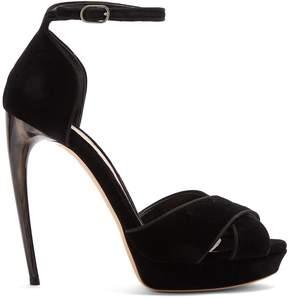 Alexander McQueen Curved horn-heel velvet sandals