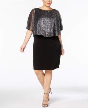 Connected Plus Size Metallic Cape Dress